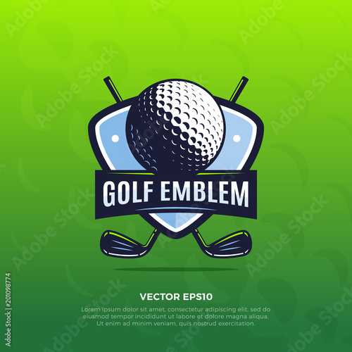 Golf shield sport emblem with golf ball and clubs vector illustration Fototapeta