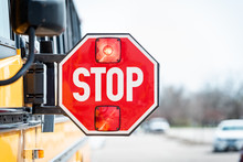 School Bus Stop Sign With Flas...