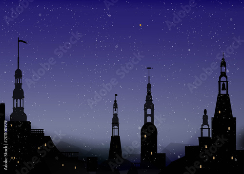 Photo night in old city with tower in winter weather, beautiful winter night,