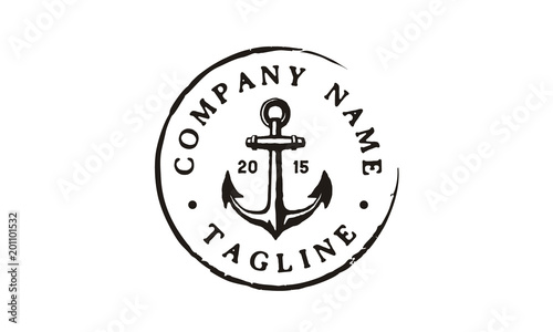 Canvas Print Anchor Hipster Vintage Retro Circular Rustic Stamp Hand Drawn Boat Ship Marine N