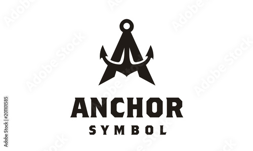 Fototapeta Anchor Letter A initial alphabet navy ship marine boat logo black vintage retro
