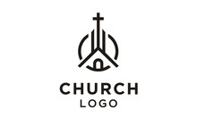 Church Building With Catholic Christian Cross Symbol Logo