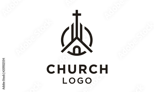 Fotografía Church Building with Catholic Christian Cross symbol logo