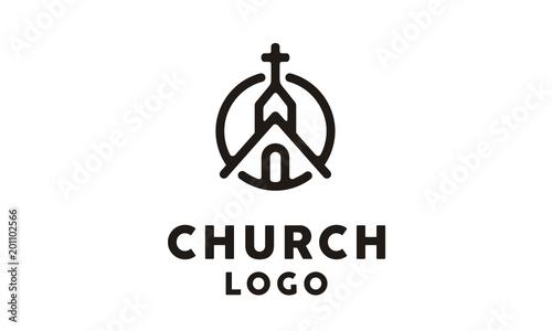 Cuadros en Lienzo Church Building with Catholic Christian Cross symbol logo