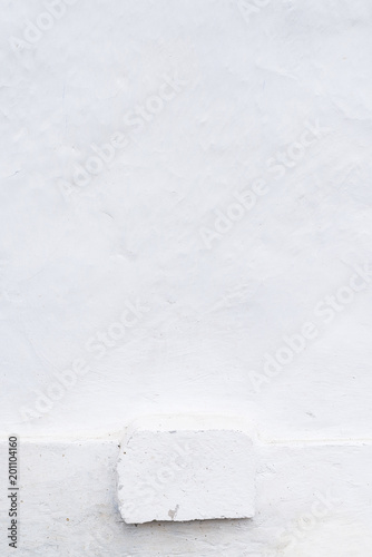 Adobe Whitewashed Wall In Natural White Color Dirty Wooden Base Traces Of Brush