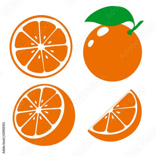 Icon orange fruits. Set fresh orange and slice. Isolated on white background. Vector Wall mural