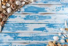 Sea Shells Frame On Vintage Bl...