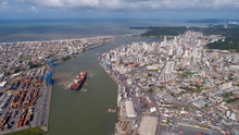 2018 04 16 - Itajai, Brazil - Aerial View Of The Lower Itajai River And The Cities Of Navegantes (Left Bank) And Itajai (Right Bank)