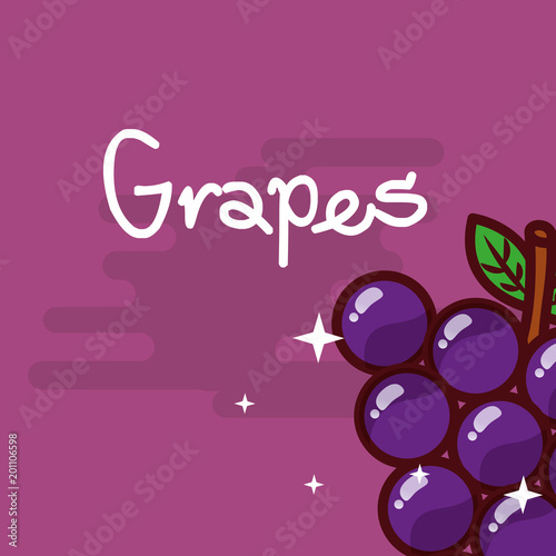 Foto op Plexiglas Restaurant grapes fruit delicious shiny poster vector illustration