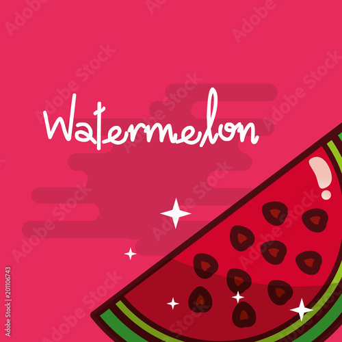 Poster Hoogte schaal watermelon fruit delicious shiny poster vector illustration