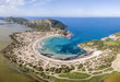 Aerial view of Voidokilia Beach, a popular beach in Messinia in the Mediterranean area