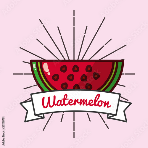 Poster Hoogte schaal slice watermelon fruit organic vitamins emblem vector illustration