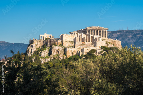 Poster Athens The Parthenon Temple at the Acropolis of Athens during colorful sunset, Greece