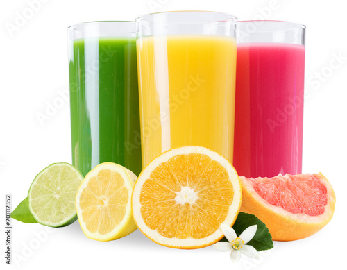 Poster Sap Juice smoothie fruit fruits smoothies orange in glass isolated on white