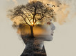 canvas print picture - double exposure, beautiful woman with tan fused with a sunset and a lonely tree, loneliness concept