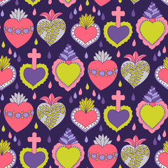 Doodle sacred heart vector seamless pattern