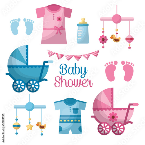 Happy Baby Shower Welcome Girl And Boy Toes Clothes Pennants Hanging