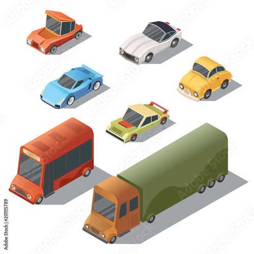 Vector set of isometric urban transportation. Cars with shadows isolated on white background. Automobiles in cartoon style - bus, truck, hatchback, retro, sedan, sport . City vehicles collection.