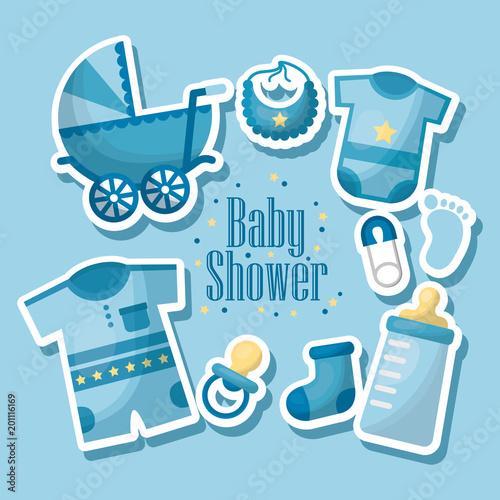 Happy Baby Shower Born Boy Celebration Blue Clothes Bib Baby