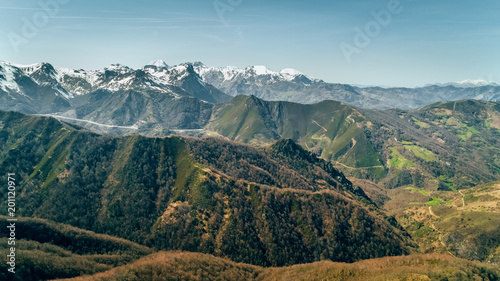 In de dag Luchtfoto Aerial view of mountains and snowy peaks