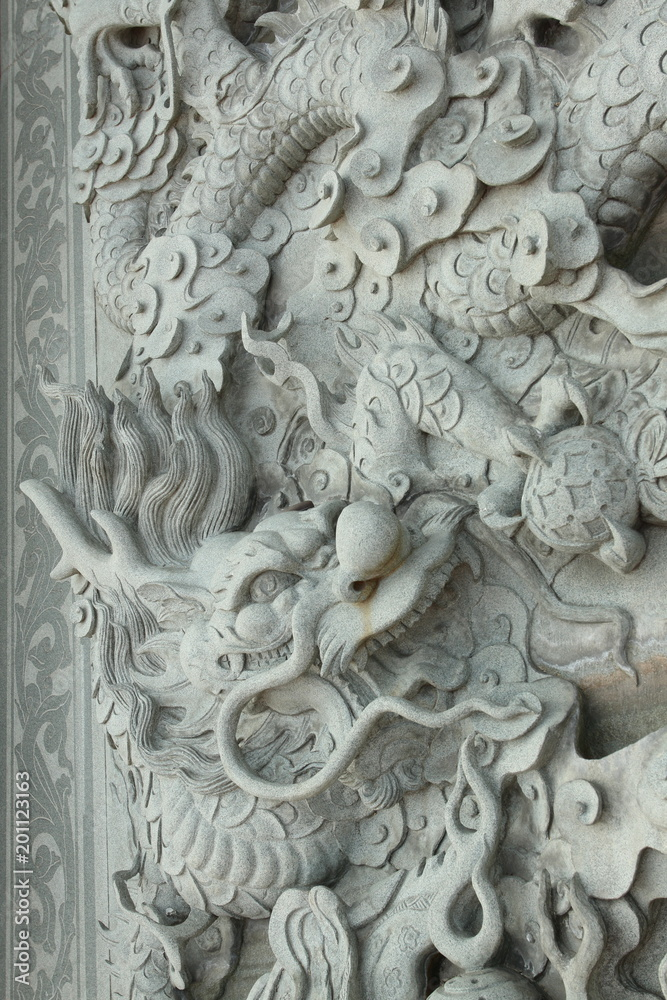 Abstract Dragon Statue Background Bas Relief made from Stone Carving