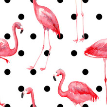 Seamless Black And White Pattern With Watercolor Pink Flamingos