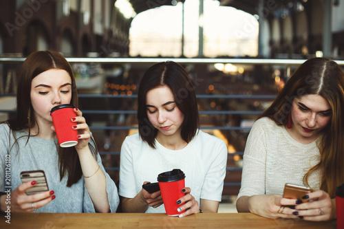 Fotografia, Obraz  Women sitting at cafe engrossed in reading networks