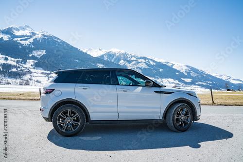 Photo  AUSTRIA, ALPS - MARCH 25, 2018: Latest brand new white 2018 Range Rover Evoque