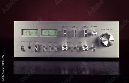 Fotomural Vintage Stereo Amplifier Frontal Panel with VU meters
