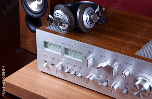 Leinwand Poster Analog Audio Stereo System Amplifier Headphones Speaker