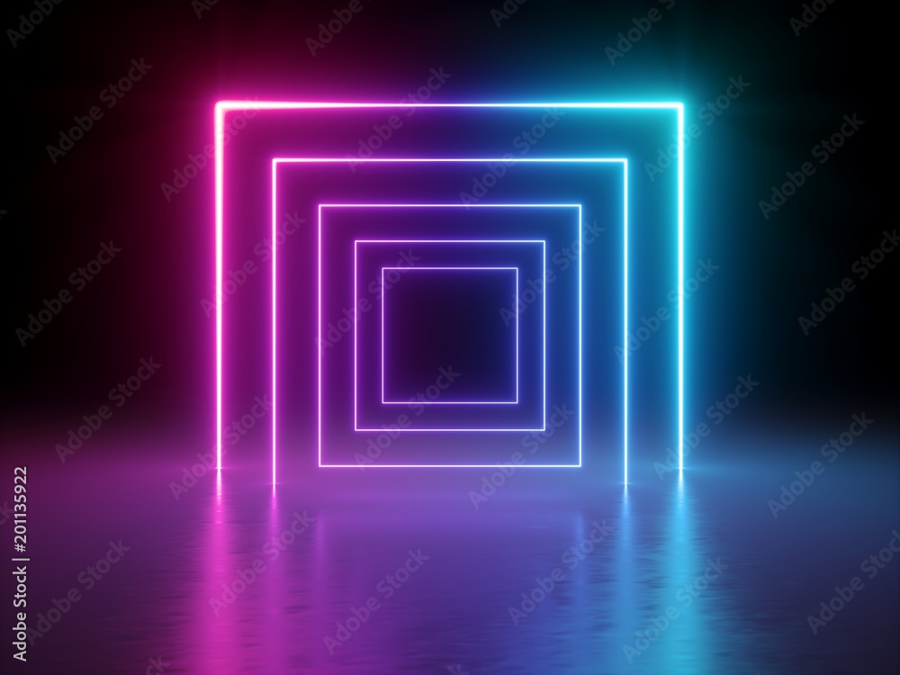 Fototapety, obrazy: 3d render, glowing lines, tunnel, neon lights, virtual reality, abstract background, square portal, arch, pink blue spectrum vibrant colors, laser show