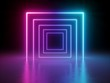 Leinwanddruck Bild 3d render, glowing lines, tunnel, neon lights, virtual reality, abstract background, square portal, arch, pink blue spectrum vibrant colors, laser show