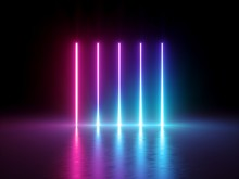 3d Render, Glowing Vertical Li...