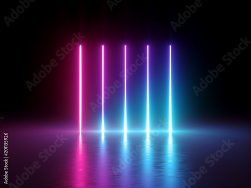 3d render, glowing vertical lines, neon lights, abstract psychedelic background, ultraviolet, spectrum vibrant colors, laser show - 201135926