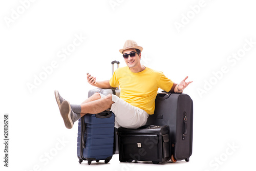 Papiers peints Statue Happy young man going on summer vacation isolated on white