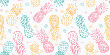 Colorful Pineapples Vector Sea...
