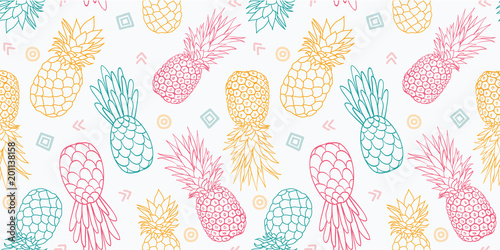 fototapeta na drzwi i meble Colorful pineapples vector seamless pattern. Great as a textile print, party invitation or packaging. Surface pattern design.