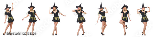 Beautiful witch in black dress isolated on white Tableau sur Toile
