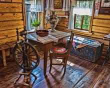 Interior Of   Russian Log Hut ...