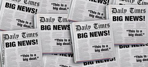 Fototapeta Big News Headlines Newspaper Announcement Background 3d Illustration obraz