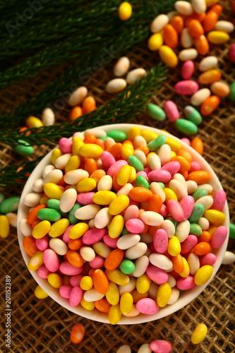 Keuken foto achterwand Snoepjes Traditional Indian sugar coated cumin seed sweets.