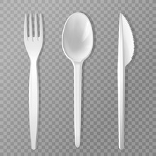 Vector Disposable Fork, Knife And Spoon. Realistic Plastic Kitchen Utensil, Serving Set. Flatware Mockup For Picnic Lunch, Restaurant, Cafe Menu Design. 3d Cutlery, Kitchenware Illustration Isolated.