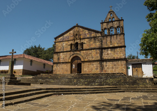 Spoed Foto op Canvas Zuid-Amerika land Iglesia de Santa Bárbara - Barichara