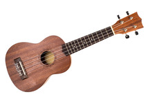 The Brown Ukulele On The White...