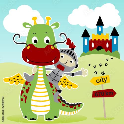 ilustracja kreskówka wektor zabawny smok i mały rycerz