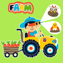 Young Farmer Driving Tractor C...