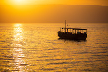Beautiful Sea Of Galilee In The Morning. Golden Sunrise Over Kinneret