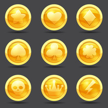 Set Of Game Coins, Game Interface, Gold, Vector, Cartoon Style, Isolated