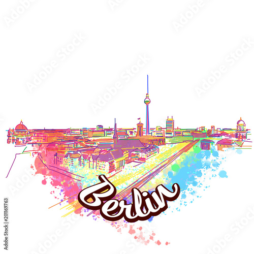 Photo  Berlin Skyline Drawing Art Concept