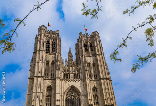 Foto op Canvas Brussel Saint Michael and Gudula cathedral in Brussels Belgium